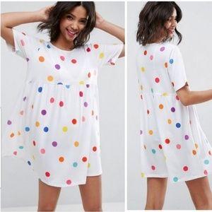 RARE ASOS Ultimate Smock Dress Colorful Dot